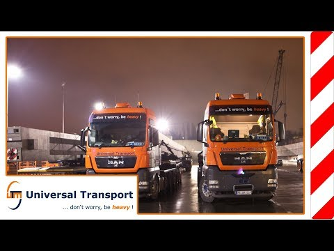 Universal Transport - Nine vehicles – heavy load transport of concrete supports